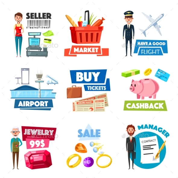 Vector Items of Selling, Jewelry and Finance Industry - People Characters