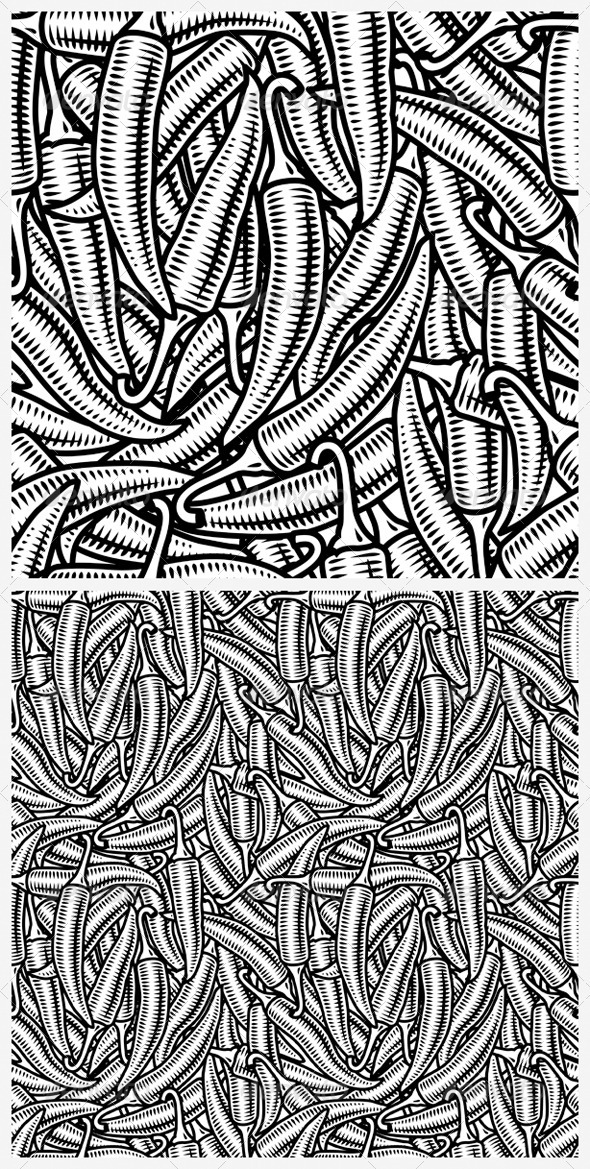 Seamless Chili Pepper Background Black And White - Food Objects