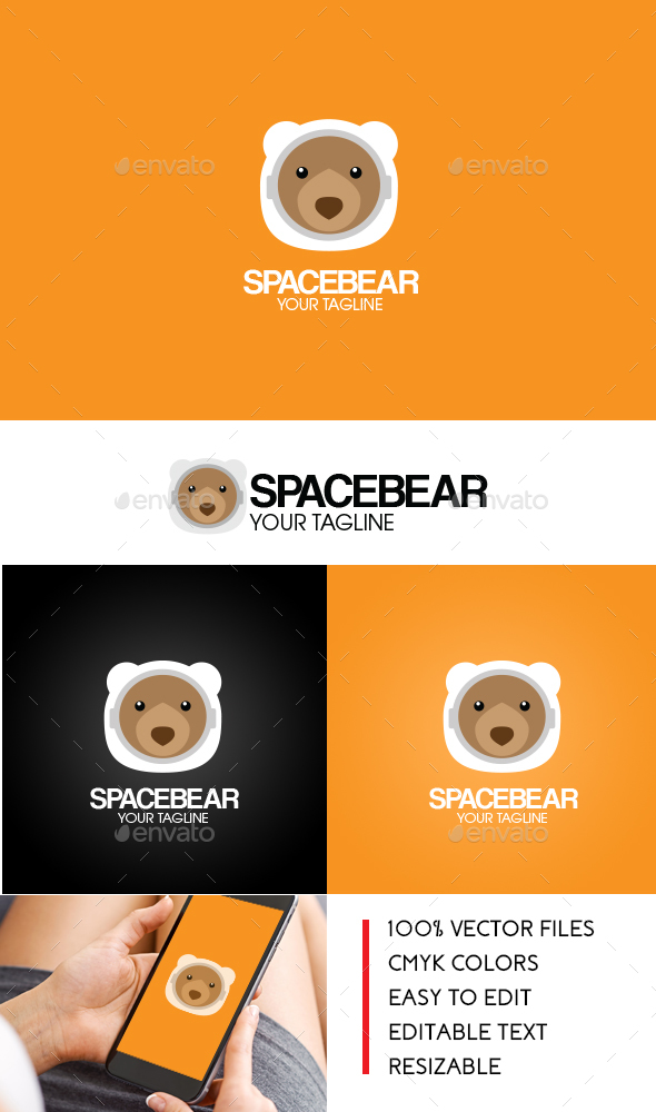 Space Bear Logo - Animals Logo Templates