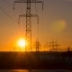 Sunset on a Background of a High-voltage Line - VideoHive Item for Sale