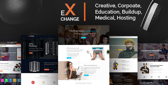 Exchange Creative, Corpoate, Education, Buildup, Medical, Hosting- Landing Page HTML Template - Corporate Site Templates