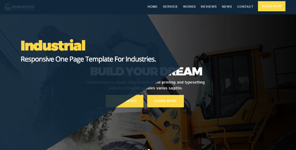 Industrial Responsive One Page Template For Industries - Business Corporate