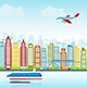 City Skyline with Traffic of Various Vehicles Ship Car Airplane Train