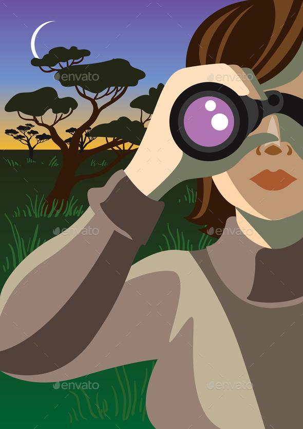 Through the binocular.