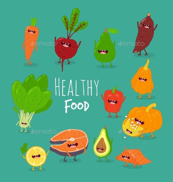 Cartoon Vegetable Healthy Food - Food Objects