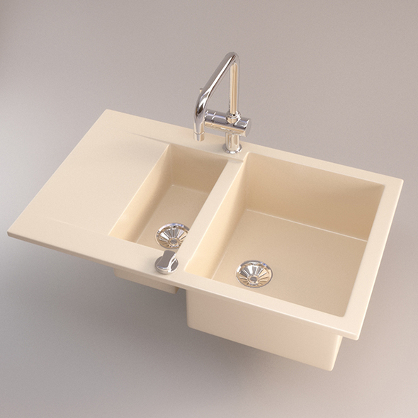 Vray Ready ceramic Kitchen Sink - 3DOcean Item for Sale