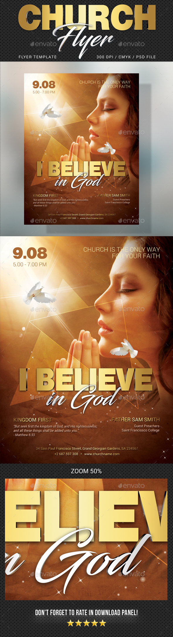 Believe In God Flyer - Church Flyers