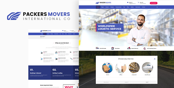 Packers &amp Movers | Domestic Logistics WordPress Theme (Company)