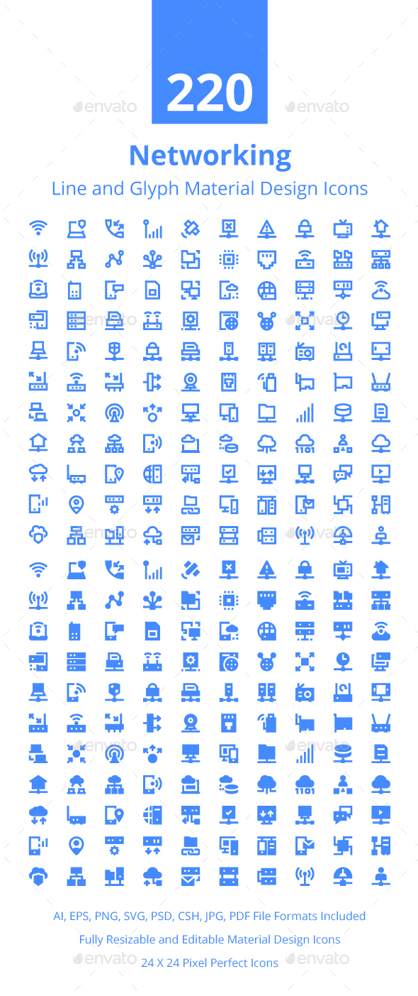 220 Networking Material Design Icons - Icons