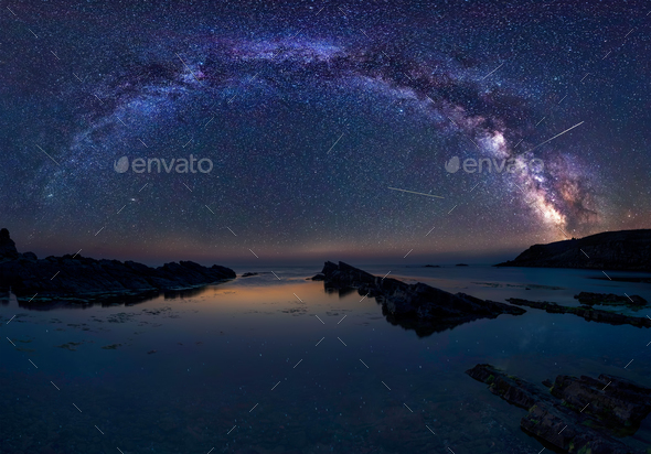 Milky Way and the Perseids - Stock Photo - Images