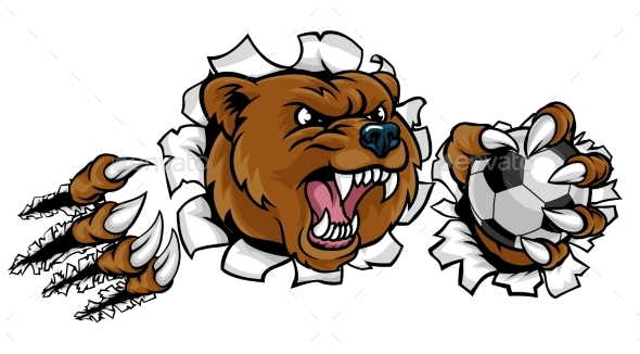 Bear Holding Soccer Ball Breaking Background - Sports/Activity Conceptual