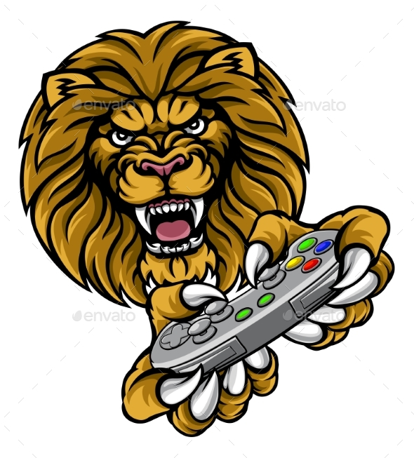 Lion Player Gamer Mascot - Animals Characters