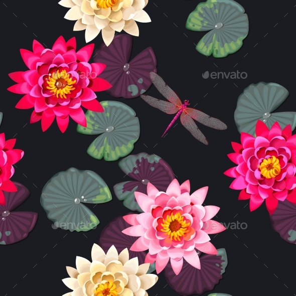 Seamless Carps and Lotus - Backgrounds Decorative