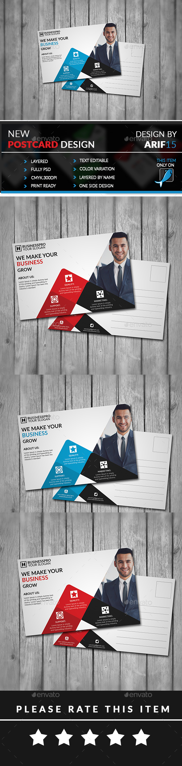 Business Post Card - Cards & Invites Print Templates