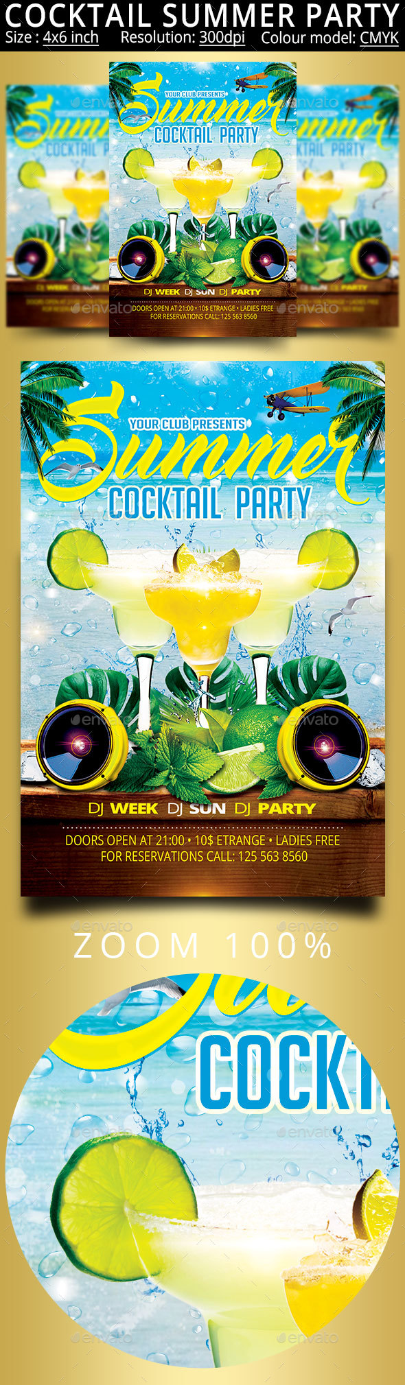 Cocktail Summer Party Flyer - Clubs & Parties Events