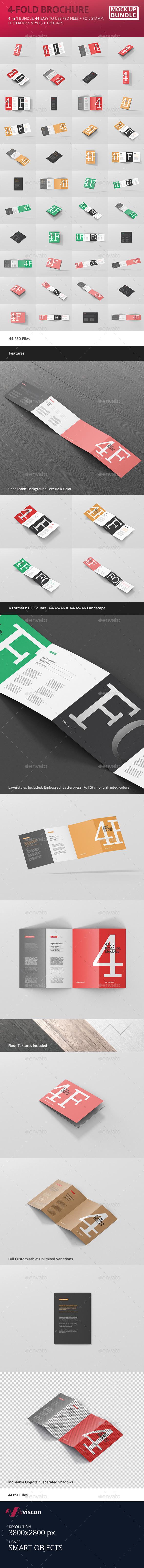 GraphicRiver 4-Fold Brochure Mockup Bundle 20411533
