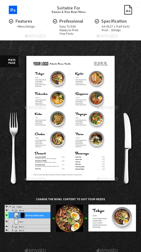 Minimalist Ramen & Rice Bowl Menu
