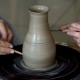 Hands of Two People Create Pot, Potter's Wheel Teaching Pottery - VideoHive Item for Sale