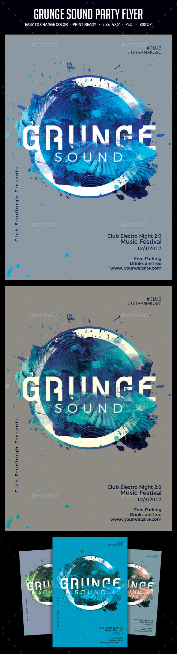 Grunge Sound Party Flyer - Clubs & Parties Events