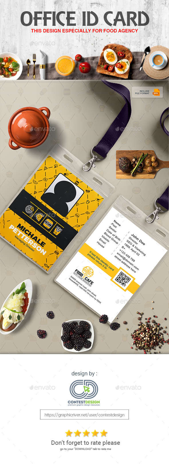 Official ID Card Template for Fast Food / Restaurants / Cafe - Miscellaneous Print Templates