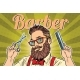 Bearded Hipster Barber with Scissors and Comb