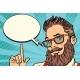 Bearded Hipster Man Portrait Pointing Finger