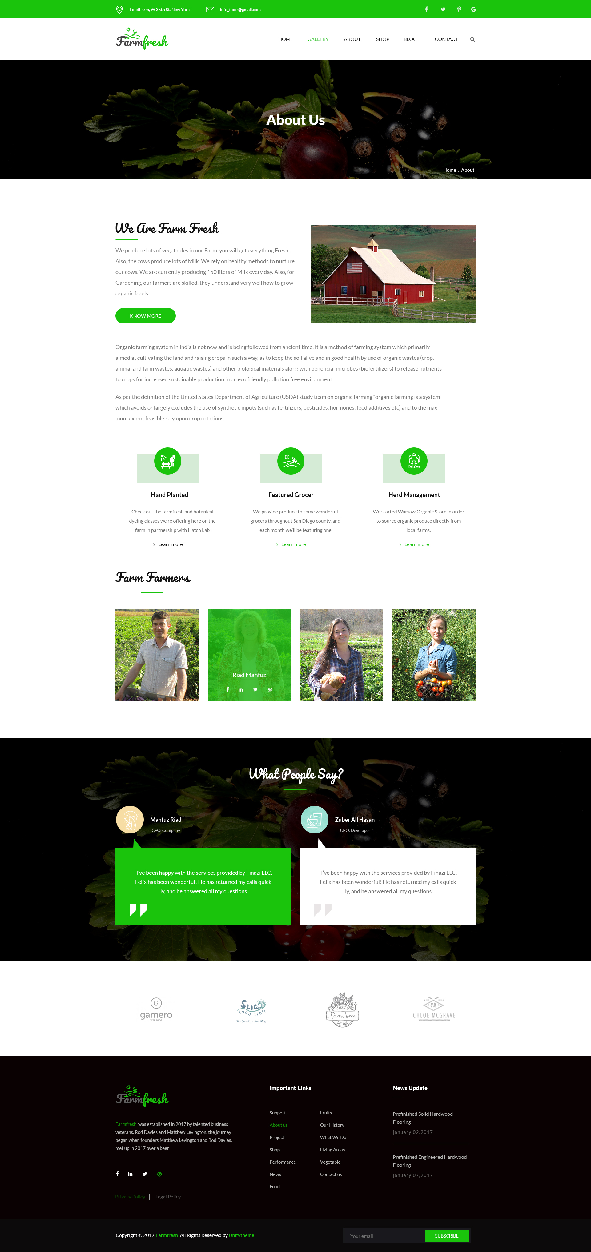 Farm Fresh - Organic Food & Eco Farm PSD Template
