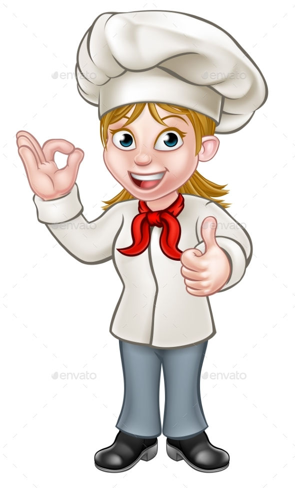 Female Chef Cartoon Character - Food Objects