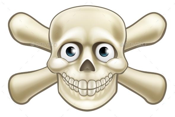 Pirate Skull and Crossbones Cartoon - Miscellaneous Vectors