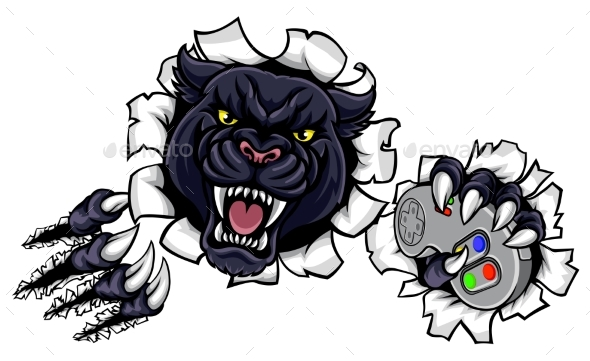 Black Panther Angry Sports Mascot - Animals Characters
