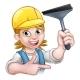 Window Cleaner Woman Cartoon Character
