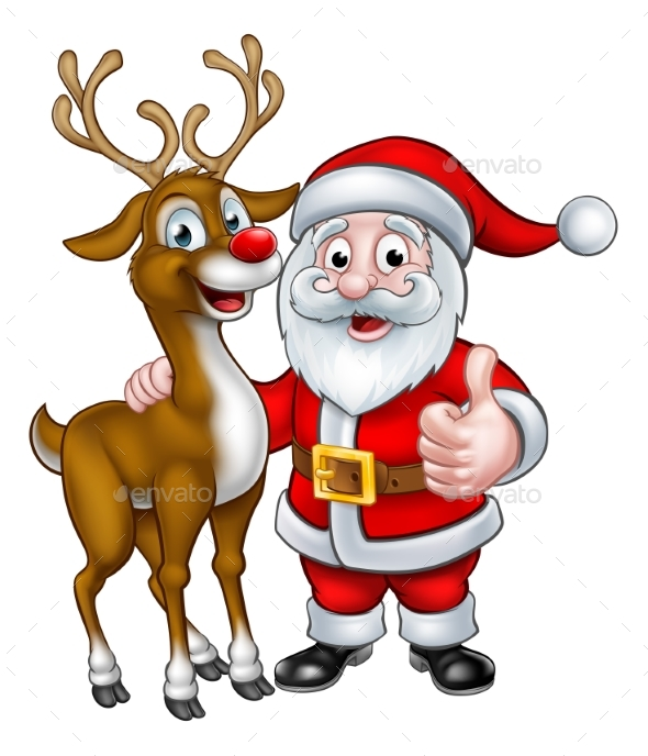 Santa and Christmas Reindeer - Christmas Seasons/Holidays