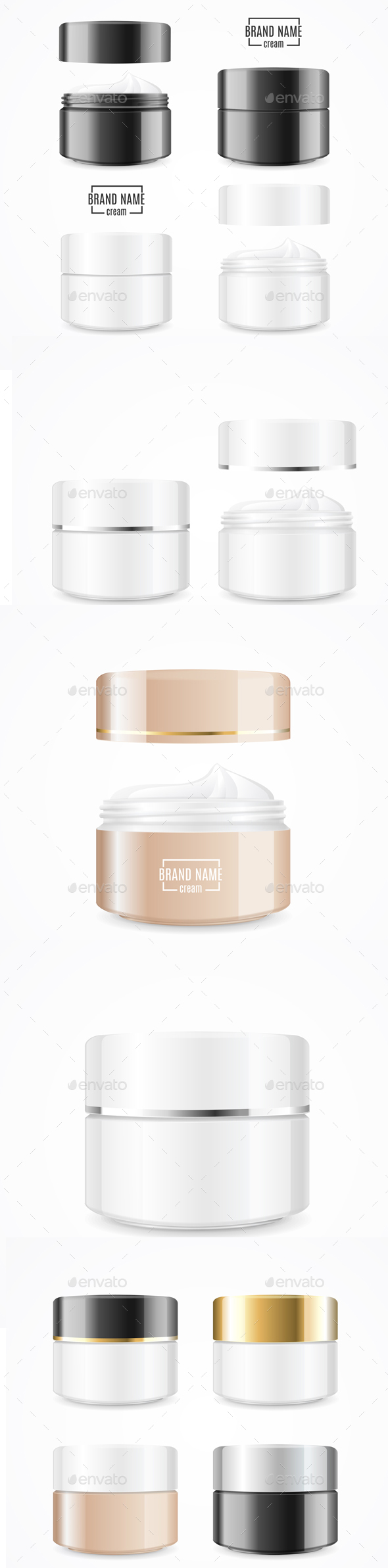 Realistic Cream Can Cosmetic Product Set - Man-made Objects Objects