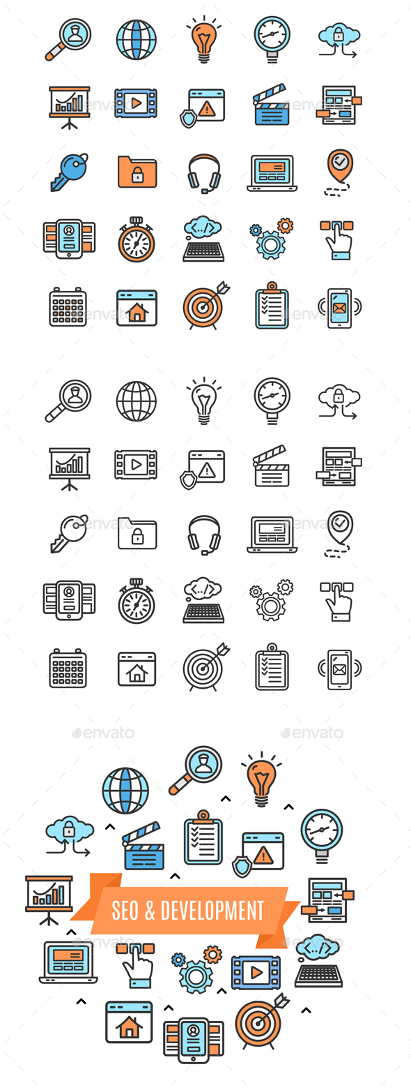 Search Engine Seo Color Thin Line Icon Set - Web Technology