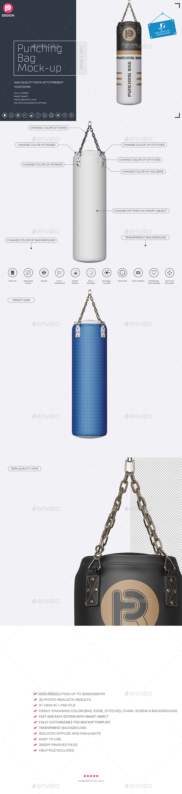 Punching Bag Mock-Up - Miscellaneous Product Mock-Ups