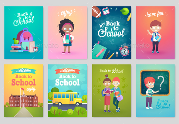 Back To School Card Set - People Characters
