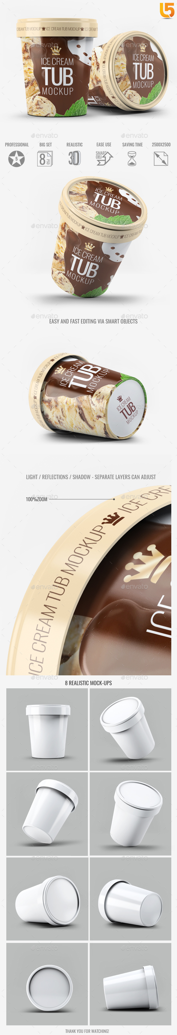 Ice Cream Tub Mock-Up - Food and Drink Packaging