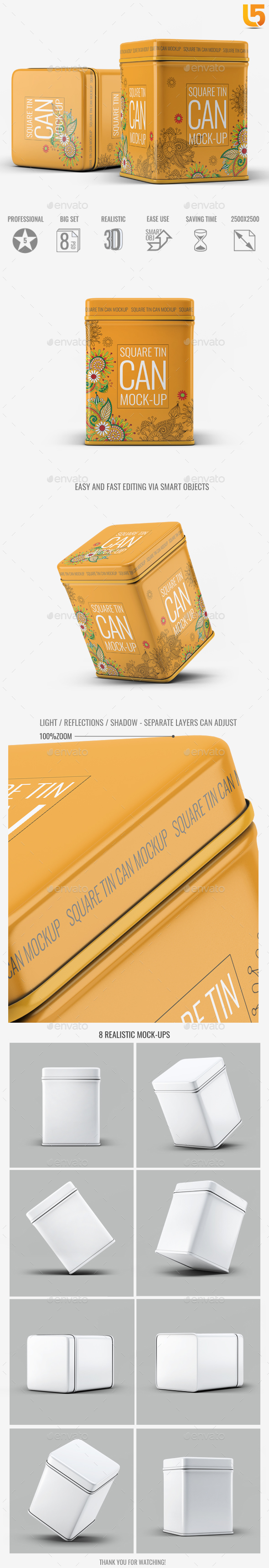 Square Tin Can Mock-Up - Food and Drink Packaging