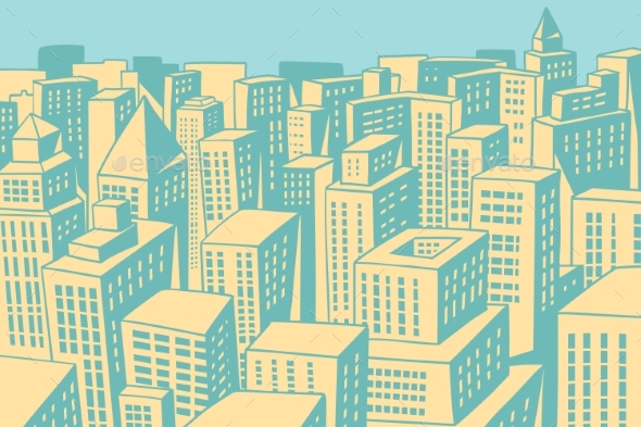Modern City Panorama - Buildings Objects