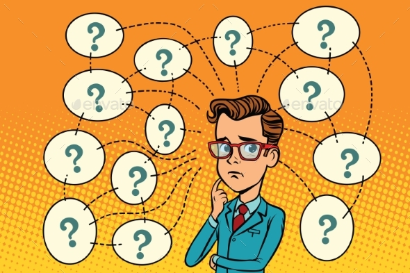 Businessman Solves the Problem, Questions - People Characters