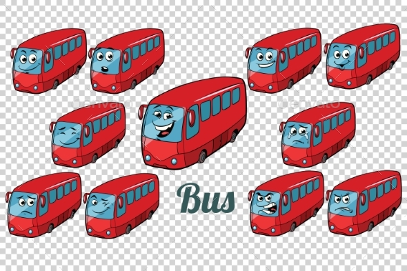 Bus Autobus Collection Set Neutral Background - Man-made Objects Objects