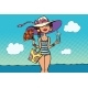 Retro Woman on Sea Beach Holidays - GraphicRiver Item for Sale