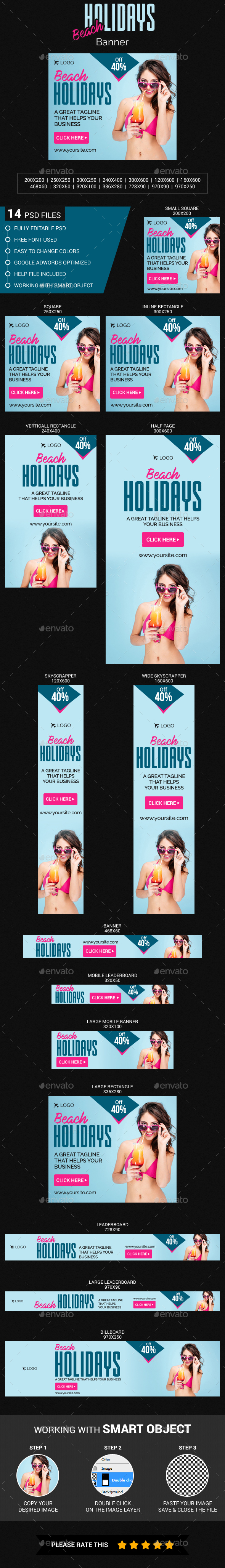 Beach Holidays Banner - Banners & Ads Web Elements