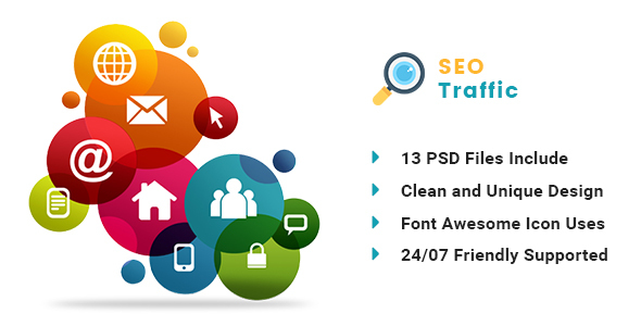 SEO TRAFFICE - Internet Marketing and SEO PSD Template
