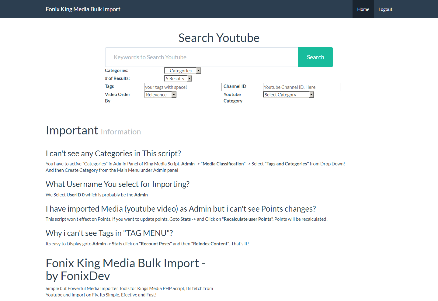How to get your youtube api key youtube importer - Screenshot Home Png Screenshot Import Png Screenshot Preview Png Screenshot Results Png