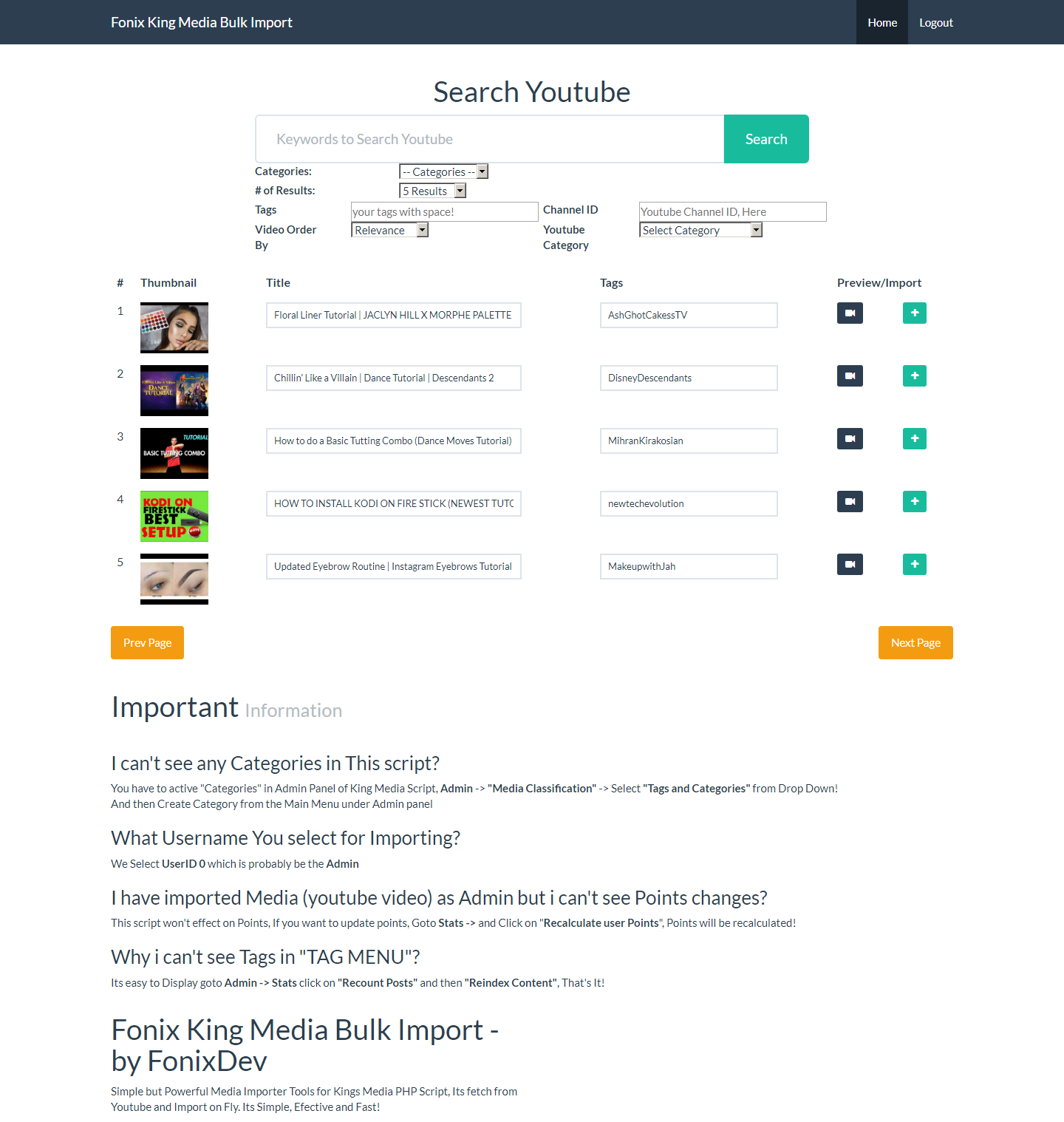 How to get your youtube api key youtube importer - Screenshot Home Png Screenshot Import Png Screenshot Preview Png