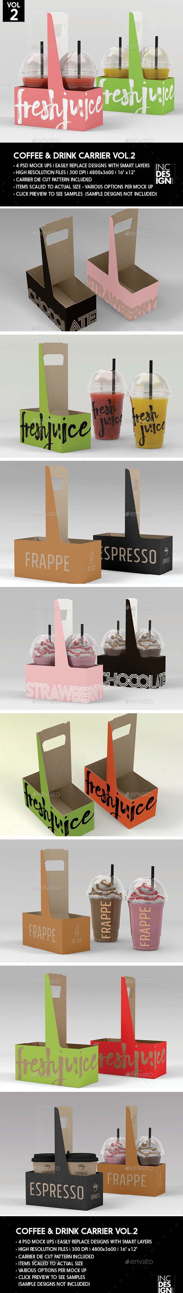 Coffee or Drink Take out Carrier Vol.2 Packaging Mock Up