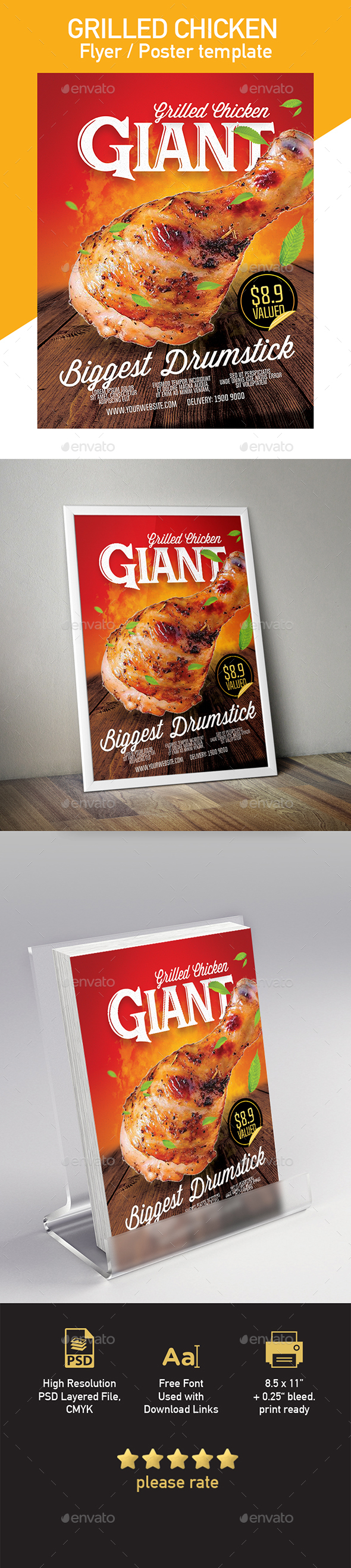 Grilled Chicken Template for Flyer / Poster - Restaurant Flyers