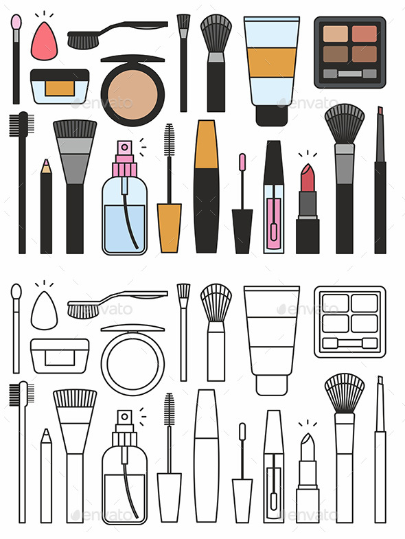 Makeup Tools Icons - Man-made Objects Objects