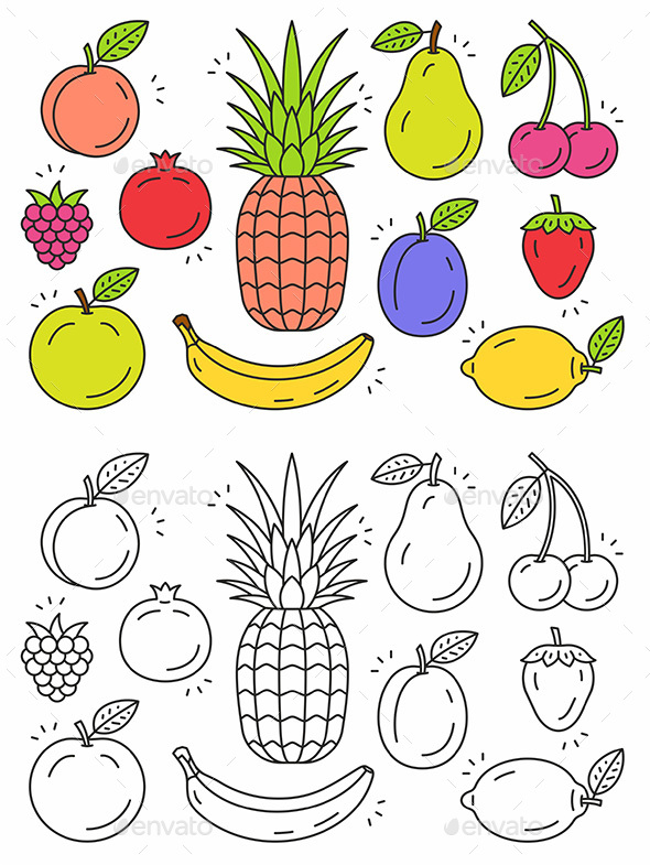Fruit Icon Set - Food Objects